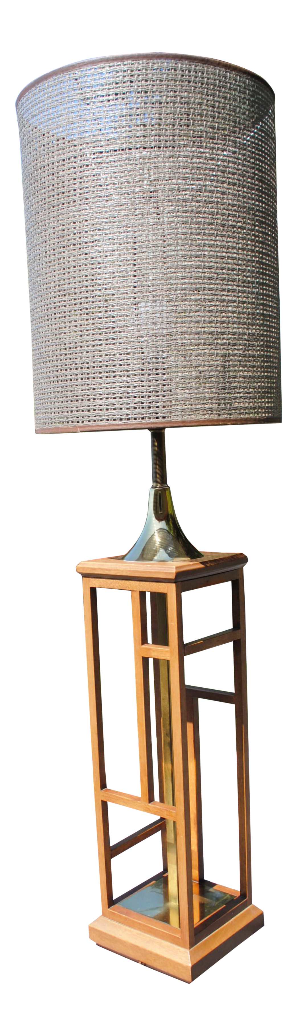 Mid Century Modern Tall Table Lamp in Wood /& Brass