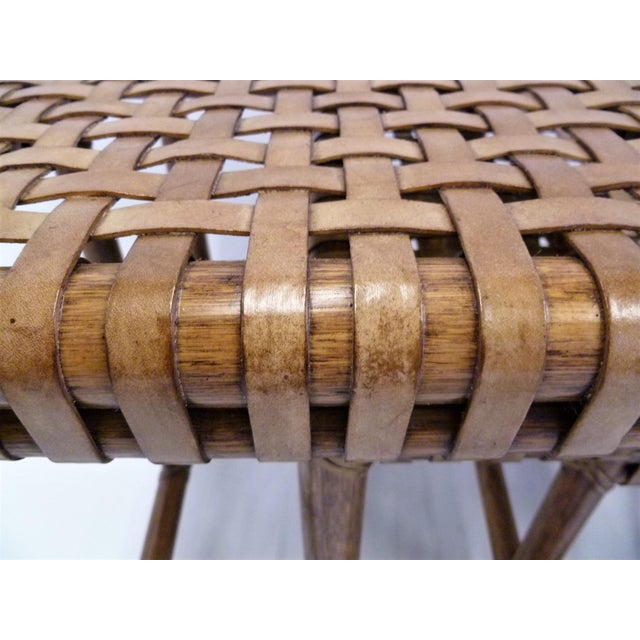 1980s Rustic Modern McGuire Rattan and Laced Leather Nesting Tables or Stools - Set of 4 For Sale - Image 10 of 12