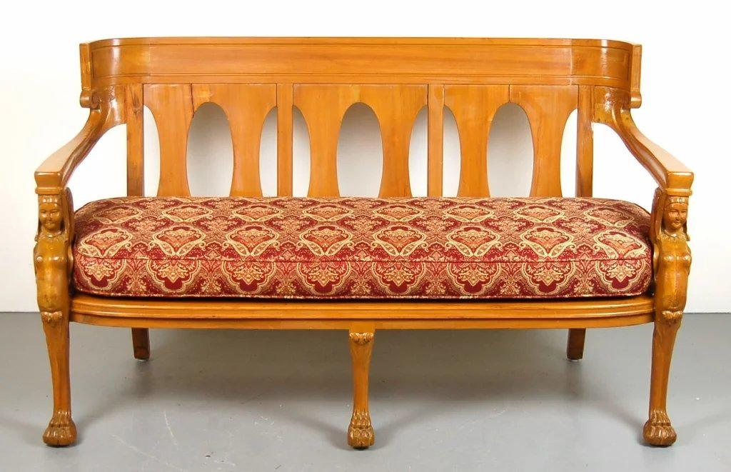 Vintage Empire Egyptian Revival Settee Bench   Image 2 Of 7