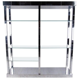 """Paul Evans """"Cityscape"""" Display Shelf in Chrome and Glass For Sale"""