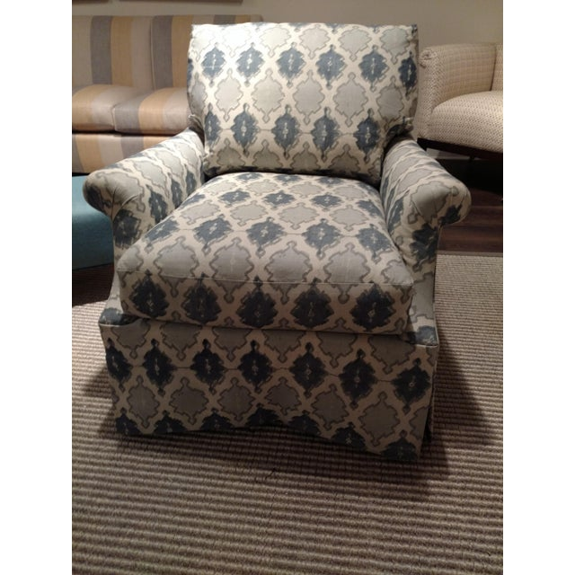O. Henry House Blue & White Patterned Club Chair - Image 6 of 6