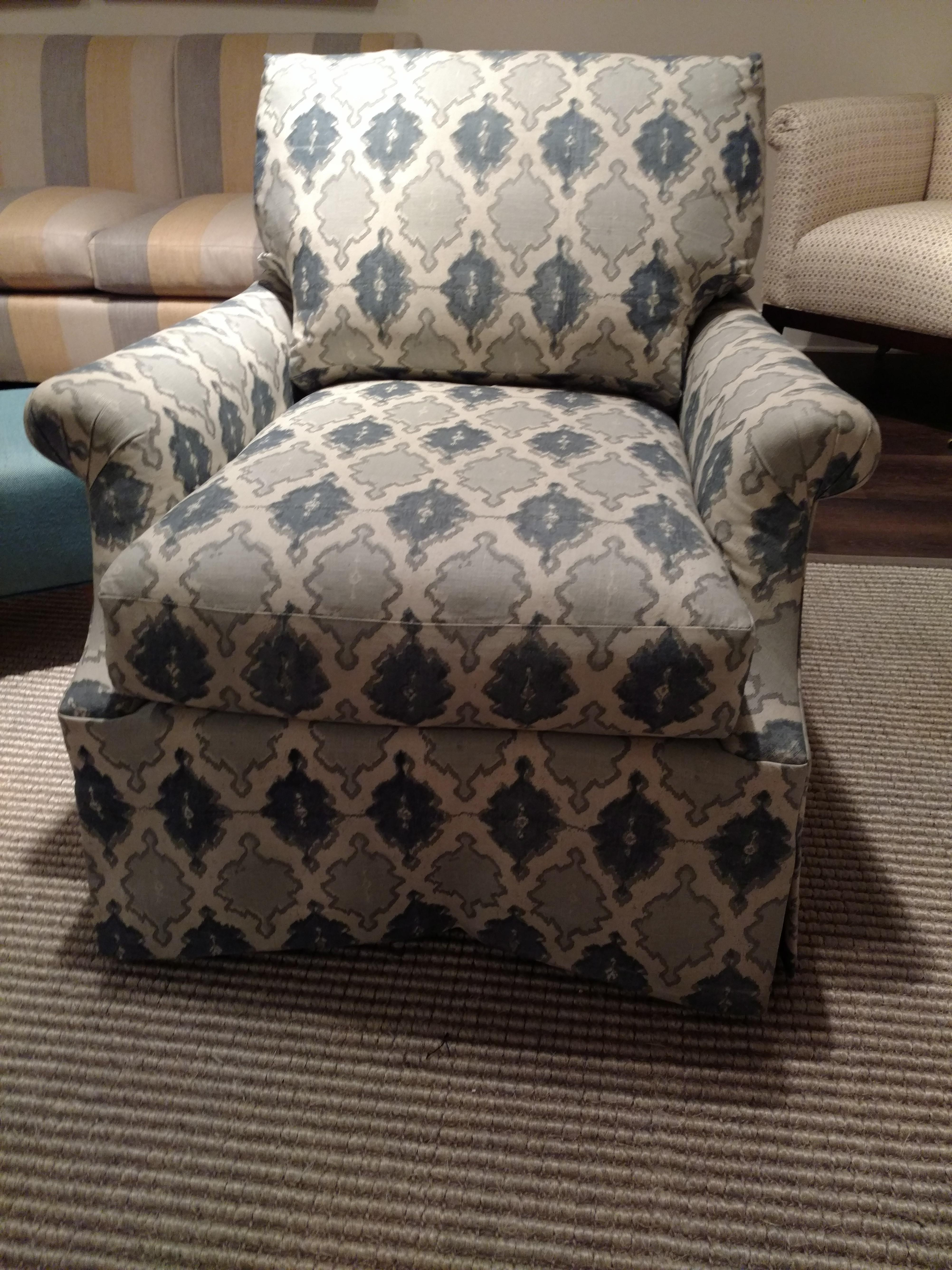 O. Henry House Blue U0026 White Patterned Club Chair   Image 6 ...