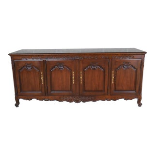 "KINDEL French Louis XV Style Walnut Buffet Sideboard Credenza 76""W"