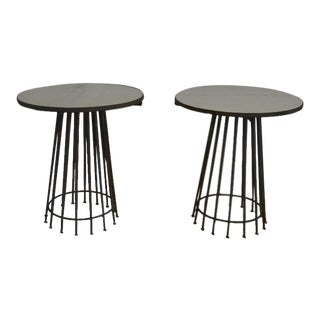 Marble Top Metal Base Side Tables - A Pair