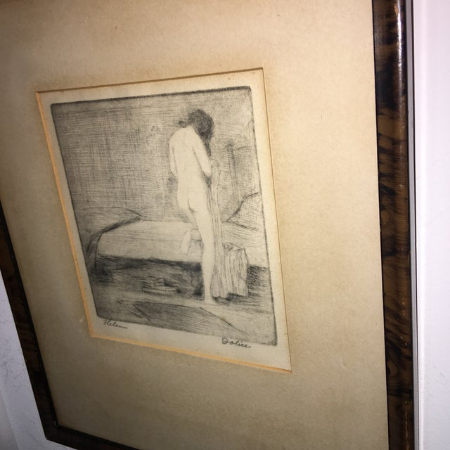 """Figurative Leon Dolice """"Helen """" Etching on Paper Print For Sale - Image 3 of 7"""