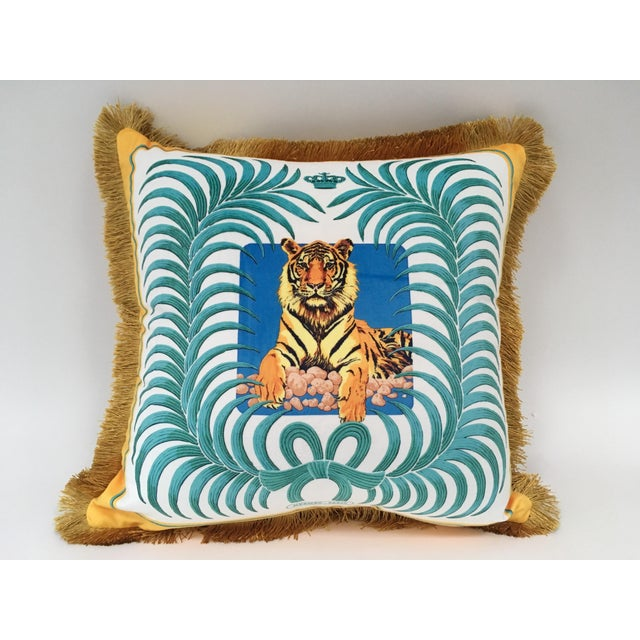 Tiger and Palm Leaf Pillow Cover For Sale - Image 4 of 4