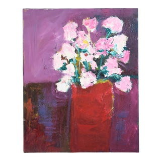 Juan Guzman, Pink Flowers Floral Bouquet in Vase Painting For Sale