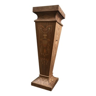 1960s Neoclassical Wood Pedestal With Marquetry For Sale