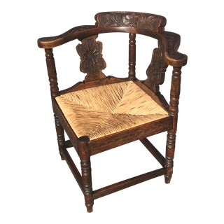 Antique Carved Corner Chair With Rush Seat For Sale
