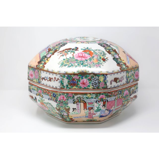 Vintage Asian Famille Rose Medallion Octagonal Treasure Bowl For Sale - Image 12 of 12