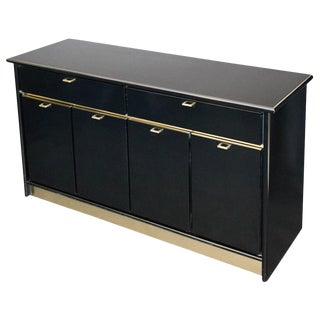 Black Credenza W/ Gold Trim by Bassett For Sale