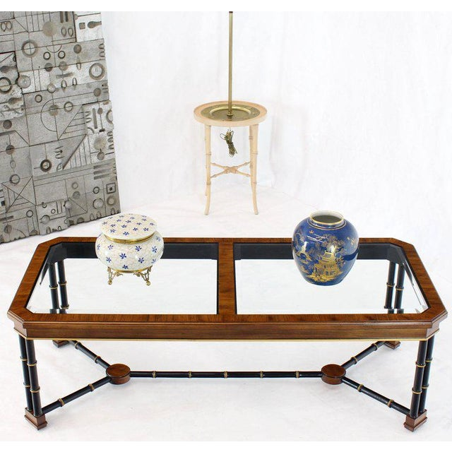 Mid-century modern rosewood banded faux bamboo base glass top coffee table by Widdicomb.