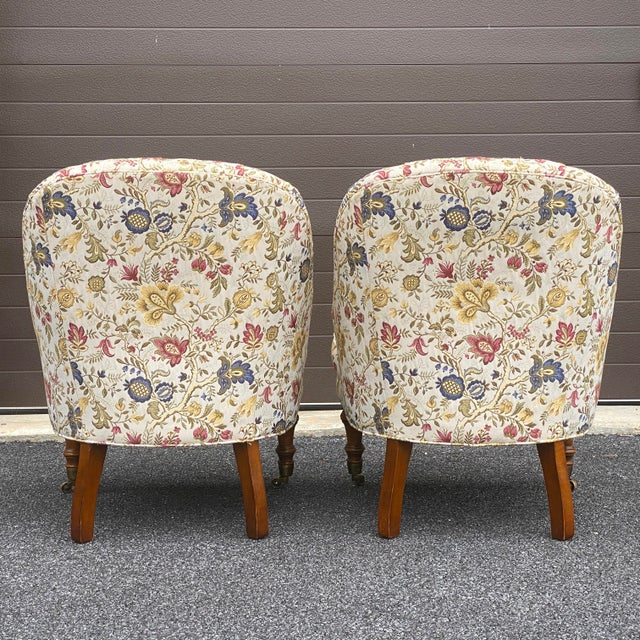 Traditional Tufted Floral Slipper Chairs - a Pair For Sale - Image 3 of 13