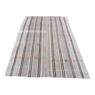 Vintage Turkish Gray Kilim Rug - 5′ × 7′11″