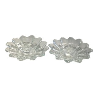 Glass Dish Candle Holders - a Pair For Sale