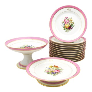 Set of French Pink Floral Dessert Set with 12 Plates and Two Footed Compotes For Sale