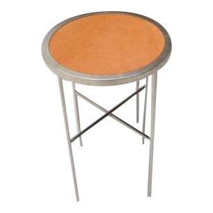 Saddle Leather Topped Side Table For Sale