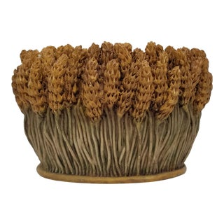 1998 Signed Sculptural Wheat Resin Sheaf Planter For Sale