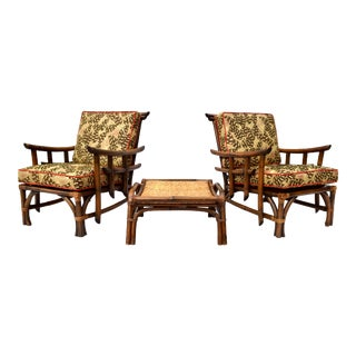 Pagoda Rattan Chair Ottoman Set in the Manner of John Wisner Ficks Reed For Sale