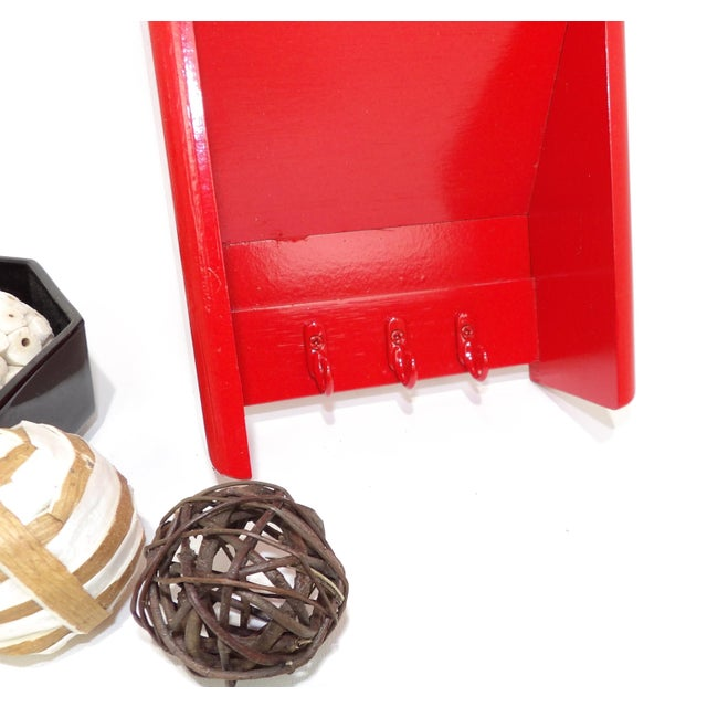 Mid-Century Modern Mid-Century Modern Red Mail Key Slot Organizer For Sale - Image 3 of 11