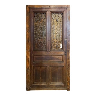 Mid 19th Century Entry Door with Tinted Textured Glass, Circa 1850 For Sale