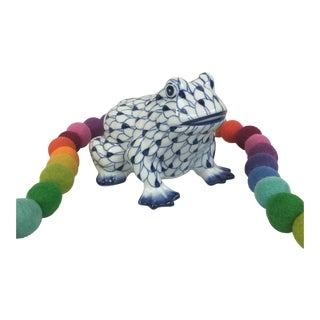 Herend Style Hand Painted Fishnet Frog Figurine For Sale