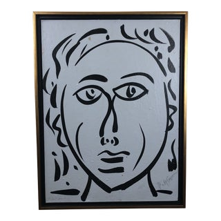 "1980s Portraiture Painting, ""Bue Face"" by Peter Keil For Sale"