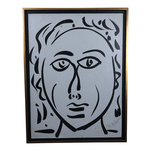 """1980s Portraiture Painting, """"Bue Face"""" by Peter Keil For Sale"""