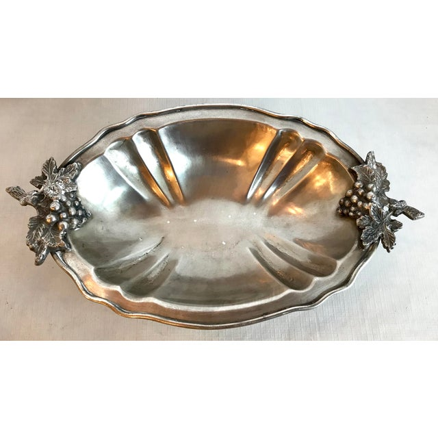 Figurative Mid Century Vintage Silver Serving Dish With Grape Motif For Sale - Image 3 of 9