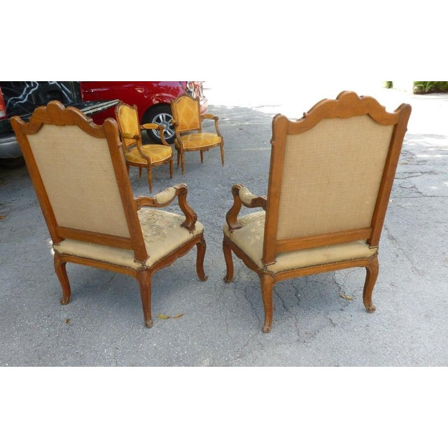 Early 20th Century 20th Century French Petit Point Needlepoint Seat Bergere Chairs - a Pair For Sale - Image 5 of 13