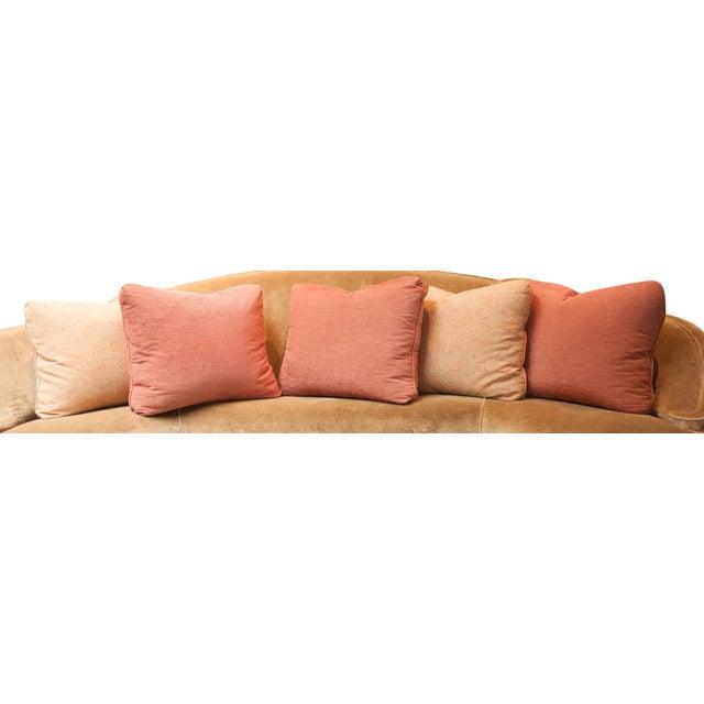 Designer Fabric Orange & Coral Pillows - Set of 5 - Image 4 of 4