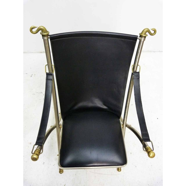 Jansen Style Leather & Brass Campaign Chair - Image 3 of 10