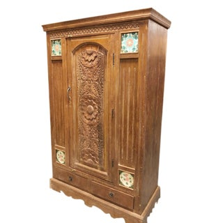 1920's Antique Indo Armoire For Sale