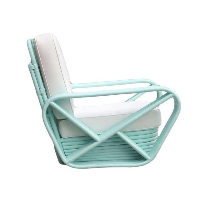 Mid-Century Modern Restored Teal Square Pretzel Stacked Rattan Armchairs in Style of Paul Frankl For Sale - Image 3 of 7