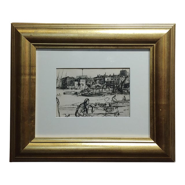 Black Lion Wharf -Etching on Paper by James Whistler For Sale