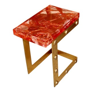 Red Resin Side Table For Sale