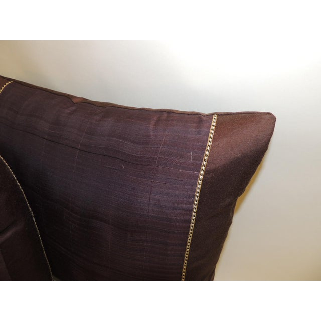 Pair of Vintage Brown and Purple Woven Decorative Square Pillows For Sale - Image 4 of 5