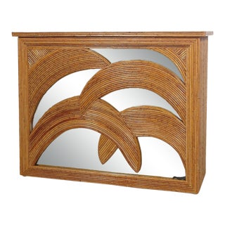 Split Pencil Bamboo Palm Frond Mirrored Console Table After Gabriella Crespi For Sale