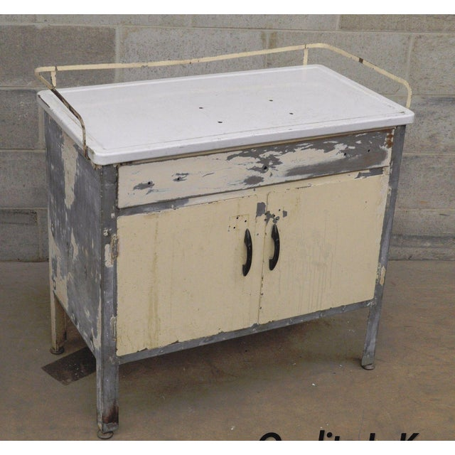 Antique Industrial Steel Metal Enamel Top Medical Cabinet For Sale - Image 13 of 13