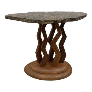 Signed Steven Spiro 1990 Studio Craft Wood and Granite Side Table For Sale