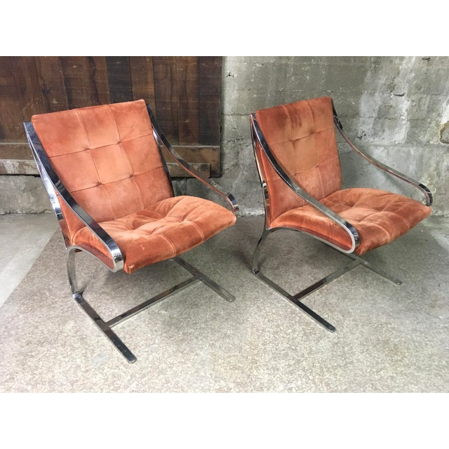 Bert England Brueton Steel Frame Cantilevered Lounge Chairs- a Pair For Sale - Image 11 of 11