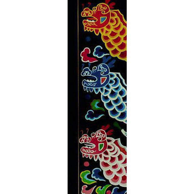 Vibrant chinoiserie (3) dragon boat flotilla richly hand- painted in vibrant gouache colours!~