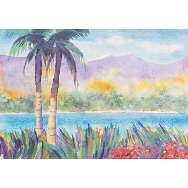 'Tropical Lagoon' by B. Metcalf, Impressionist Landscape With Palm Trees and Bougainvillea For Sale
