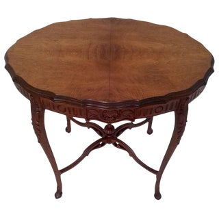 1920s Weiman Walnut Heirloom Occasional CentreTable With Finial For Sale