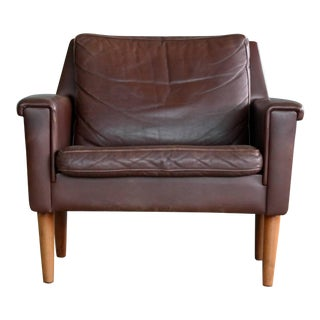 1960s Georg Thams Classic Easy Chair in Chestnut Colored Leather For Sale