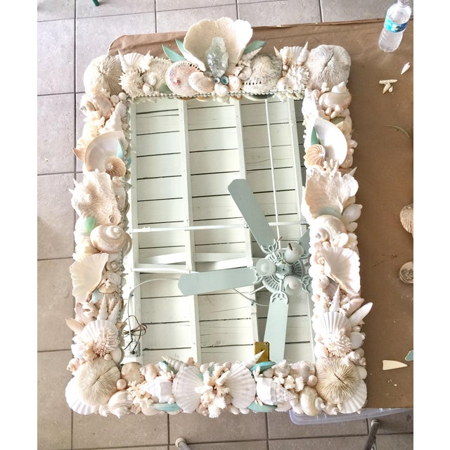 Nautical Custom Seashell & Coral Hall or Bathroom Mirror For Sale - Image 3 of 4