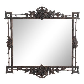 Early 20th Century Faux Bois Carved German Mirror For Sale