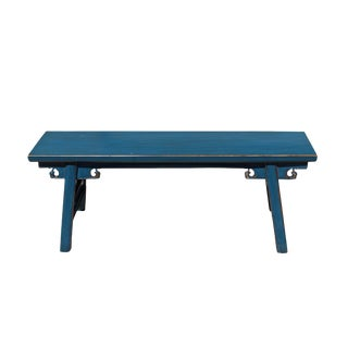 Chinese Oriental Distressed Teal Blue Long Wood Bench Stool For Sale