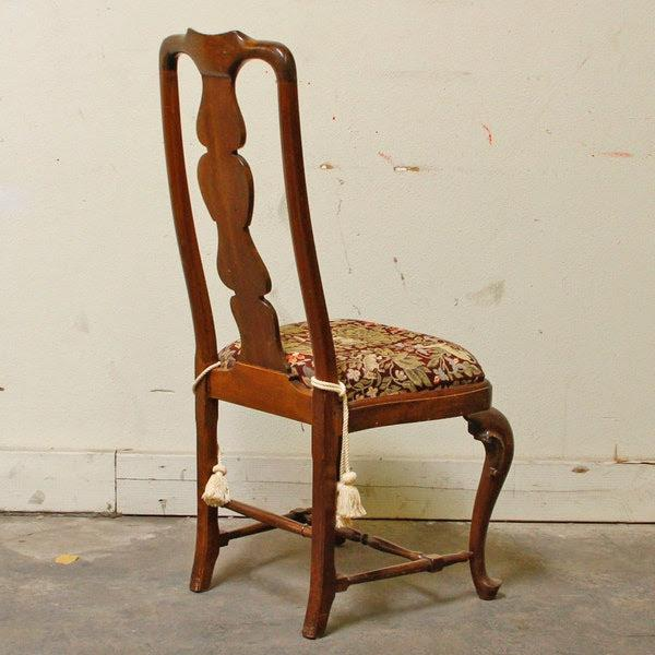 1990s 1990s Queen-Anne Style Fiddleback Mahogany Side Chair For Sale - Image 5 of 10
