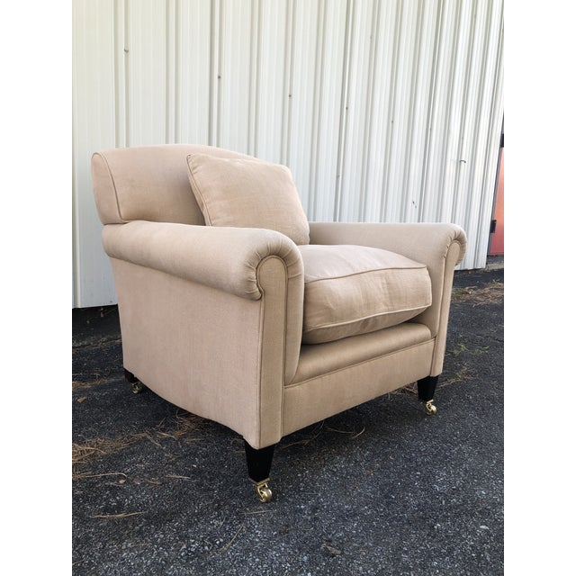 2010s George Smith Full Scroll Arm Chair With Slipcover For Sale - Image 5 of 11